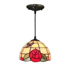 Suspension vintage en verre tiffany fleurs rouge luminaire chambre salon cuisuine salle à manger