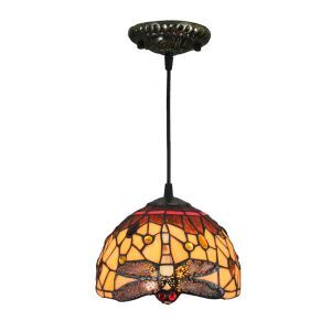 Suspension vintage en verre tiffany à motif des libellules luminaire chambre salon cuisuine salle à manger