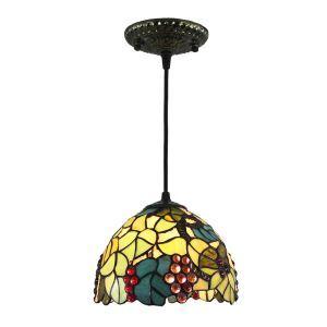 Suspension vintage en verre tiffany colore à motif des raisins luminaire chambre salon cuisuine salle à manger