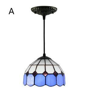 Suspension vintage en verre tiffany colore à motif de maille luminaire chambre salon cuisuine salle à manger