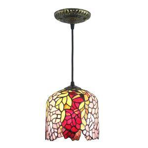 Suspension vintage en verre tiffany à motif des feuilles colores luminaire chambre salon cuisuine salle à manger