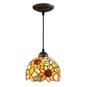 Suspension vintage en verre tiffany à motif des tournesols luminaire chambre salon cuisuine salle à manger