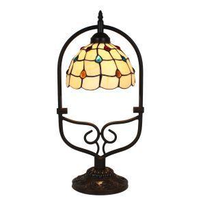 Lampe à poser tiffany pour chevet vintage à motif des perles colore luminaire cambré chambre salon cuisine