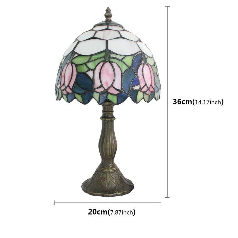 À Résine Rose Vintage Des Salon Base De Motif Fleurs Verre Tiffany Chambre Poser En Chevet Luminaire Table Lampe Cuisine Lj43Rq5A