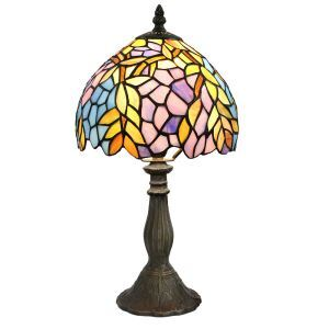 Lampe à poser en verre tiffany pour table chevet en résine verre motif de feuille colore D20*H36cm luminaire chambre salon cuisine