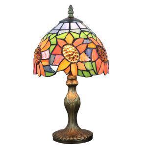 Lampe à poser tiffany pour chevet vintage base en résine à motif de tournesol luminaire chambre salon cuisine