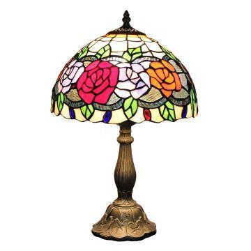 Table Poser Verre Tiffany Rose Luminaire En Pour Chambre Chevet À Salon Lampe Cuisine W9E2DIHY
