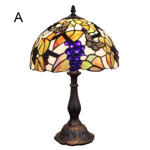 Lampe à poser en verre tiffany pour chevet table papillon grappe de raisin luminaire pour salon cuisine chambre