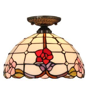 Plafonnier en verre tiffany fleurs luminaire pour salon cuisine chambre