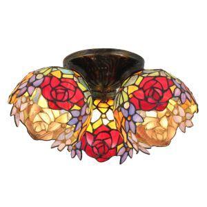 Plafonnier en verre tiffany à 3 lampes fleurs luminaire pour salon cuisine chambre