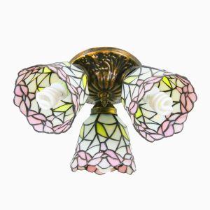Plafonnier en verre tiffany à 3 spots D 50 cm rose fleur luminaire pour salon cuisine chambre