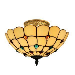 Plafonnier en verre tiffany D 30 cm luminaire pour salon cuisine chambre
