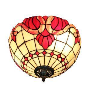 Plafonnier en verre tiffany fleur rouge luminaire pour salon cuisine chambre