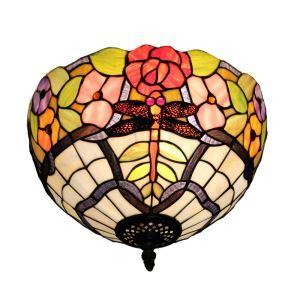 Plafonnier en verre tiffany libellule fleur luminaire pour salon cuisine chambre