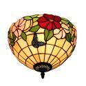 Plafonnier en verre tiffany à motif des papillons fleurs luminaire pour salon cuisine chambre