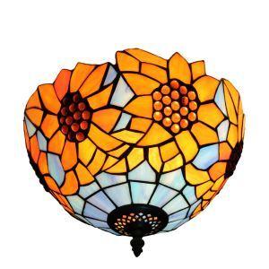 Plafonnier en verre tiffany tournesol luminaire pour salon cuisine chambre