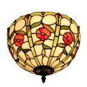 Plafonnier en verre tiffany fleurs rouge luminaire pour salon cuisine chambre
