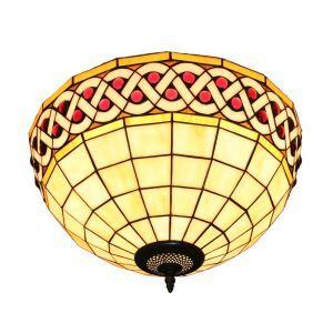 Plafonnier en verre tiffany à 2 lampes D30cm rétro luminaire pour salon cuisine chambre
