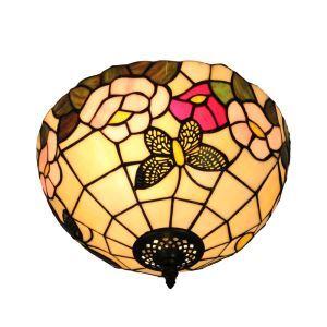 Plafonnier en verre tiffany papillon fleur luminaire pour salon cuisine chambre