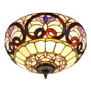 Plafonnier en verre à 2 lampes rétro D40cm luminaire pour salon cuisine chambre