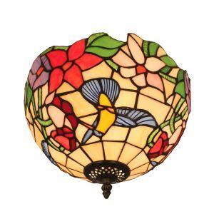Plafonnier en verre tiffany fleurs colibri D30cm luminaire pour salon cuisine chambre