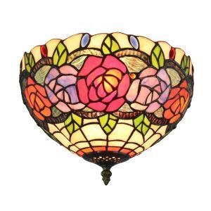 Plafonnier en verre fleurs D30cm luminaire pour salon cuisine chambre