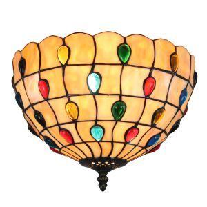 Plafonnier en verre tiffany D30cm luminaire pour salon cuisine chambre