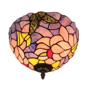 Plafonnier en verre tiffany papillons fleurs D30cm luminaire pour salon cuisine chambre