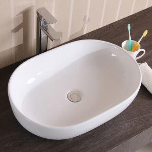 Vasque à poser D 49 cm en céramique ovale pour salle de bains toilettes