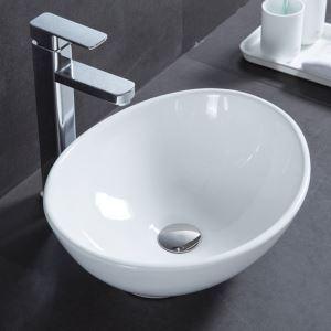 Vasque à poser céramique D 41 cm blanc ovale pour salle de bains toilettes