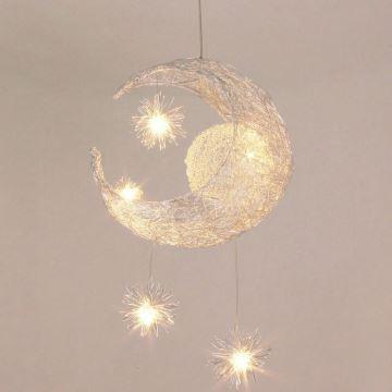 Ampoules offertes lustre 5 lumi res led lune toile pour chambre d 39 enfant bebe - Lustres pour chambre ...