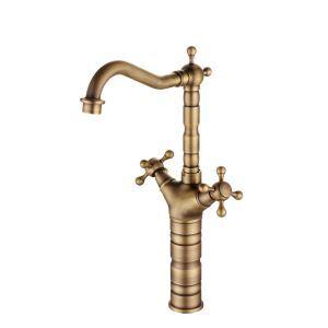 Mitigeur de lavabo/vasque vieux laiton brossé pour salle de bain 1 trou 2 poignées
