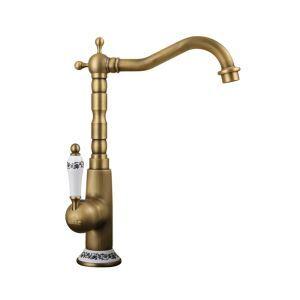 Robinet de lavabo/vasque en cuivre brossé style rétro pour salle de bain 1 trou 1 poignée