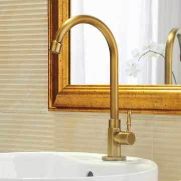 robinet de lavabo/vasque h 22 cm en cuivre brossé rétro pour salle