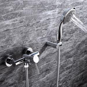 Robinet de douche pour salle de bain chromé style moderne simple 2 trous 1 poignée