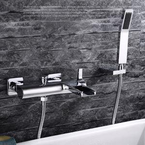 Robinet de douche pour salle de bain chromé style moderne simple installé au mur 3 trous 2 poignées