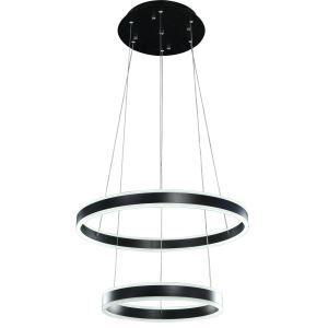 Suspension LED lustre à 2 lampes noir rond pour bar restaurant style moderne
