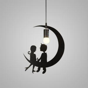 Suspension à 1 lampes en fer rétro lampe pour café bar salle restaurant lune amourants