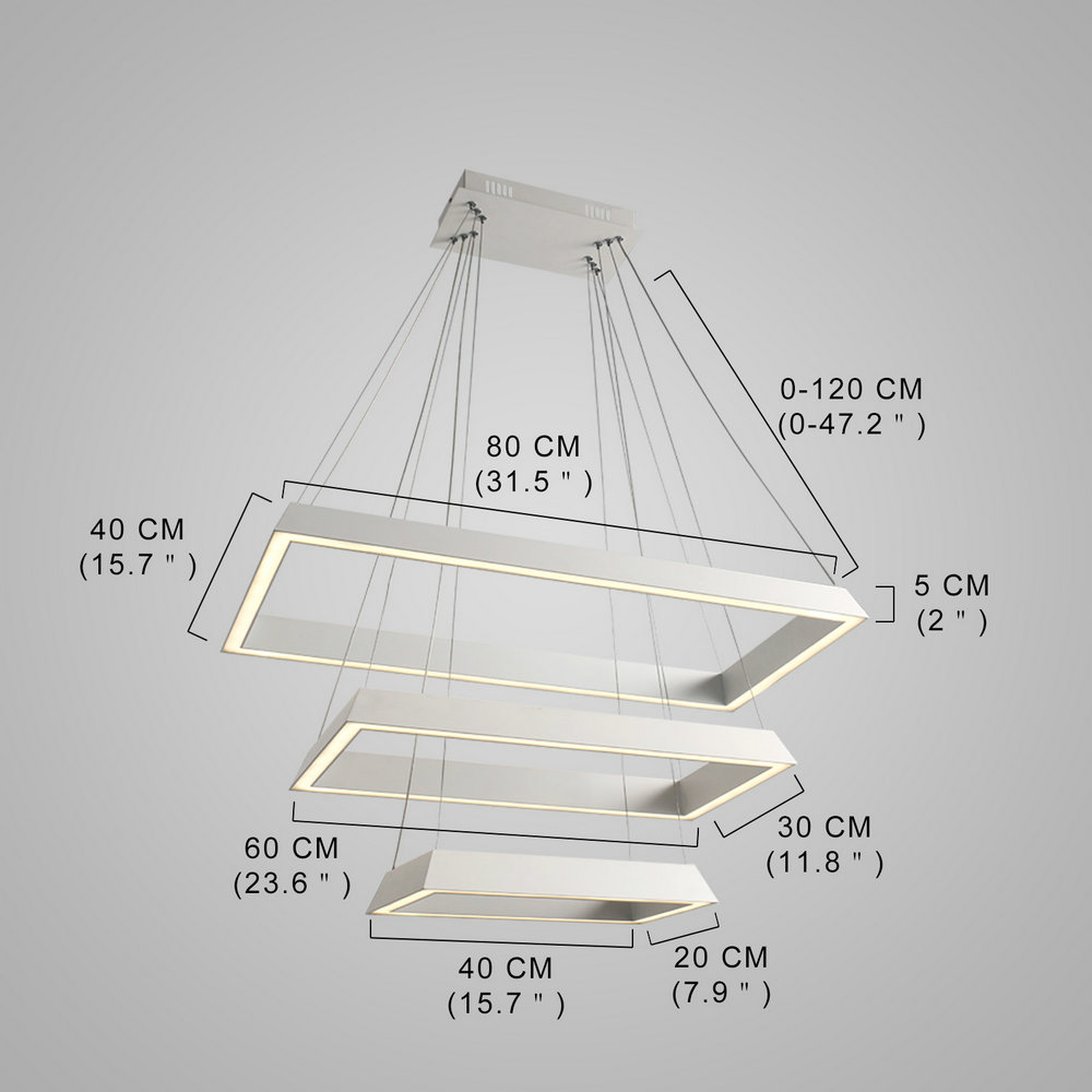 Suspension LED blanche à 3 couches blanche lampe pour ...