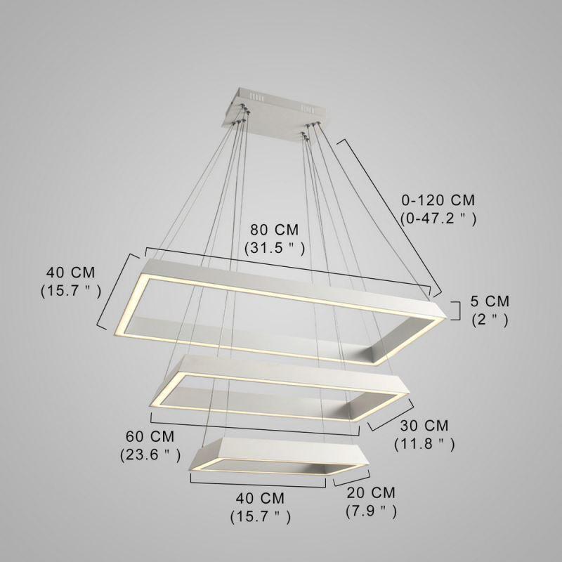 Suspension LED blanche à 3 couches blanche lampe pour chambre salle  restaurant style moderne