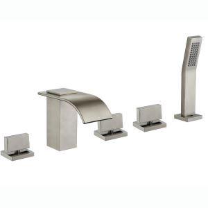 Robinet de baigoire mitigeur avec douchette brossé 5 trous pour salle de bain style moderne simple
