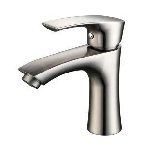 Robinet de lavabo moderne brossé H16cm monotrou simple poignée