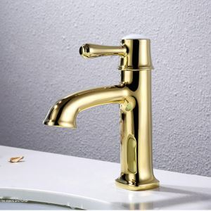 Robinet de lavabo mitigeur Ti-PVD 1 trou 1 poignée pour salle de bain style moderne simple