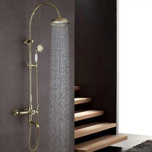 Robinet de douche Ti-PVD avec douchette mitigeur pour salle de bains 3 trous style moderne simple