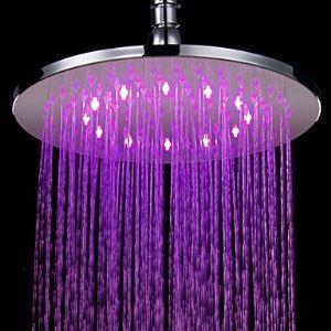Pomme haute ronde Diam.25 cm laiton LED pour salle de bains rétro pas cher