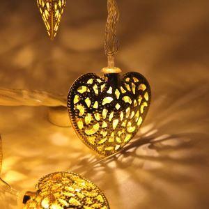 Guirlande lumineuse ciselée LED couleur d'or et d'argent décoration pour Noël