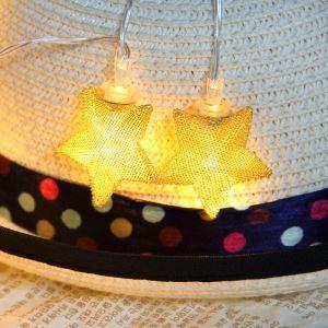 Guirlande lumineuse LED en forme d'étoile or argenté pour Noël chambre