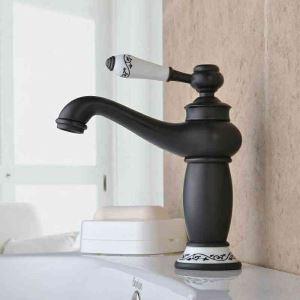 (Entrepôt UE) Robinet de lavabo pour salle de bain Rétro Huilé  Bronze Noir Une Trous Une Poignée