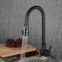 Mitigeur d'évier avec douchette robinet noir H42.5 cm laiton huilé antique retrait vaporisateur