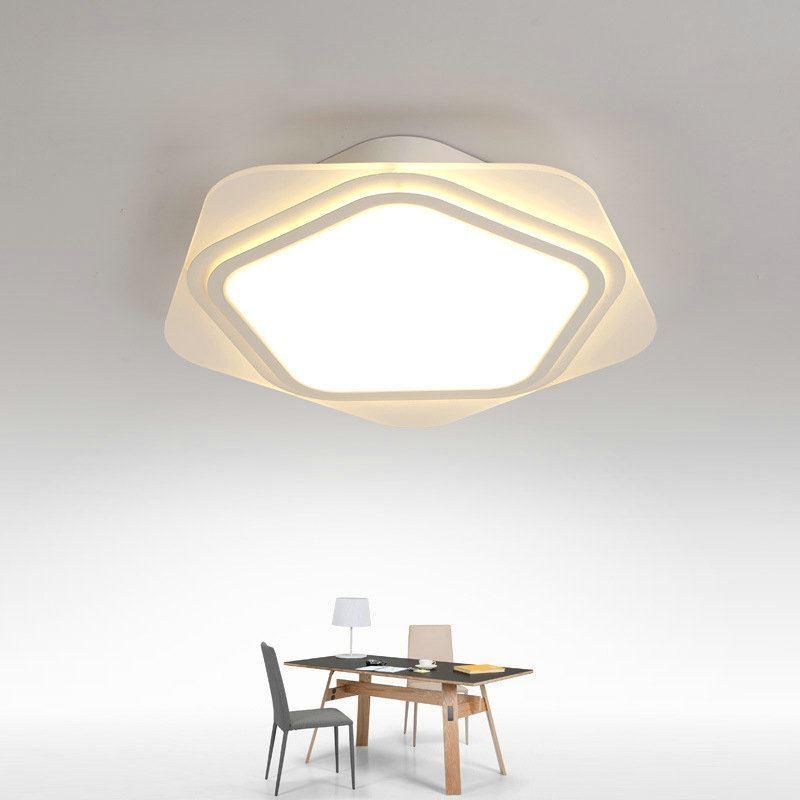 Plafonnier led lampe de plafond pour salle manger chambre luminaire toile g om trique simple - Plafond chambre etoile ...
